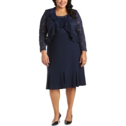 R & M Richards Plus Size Lace-Trim Dress & Ruffled Lace Jacket found on Bargain Bro from Macy's Australia for USD $87.35
