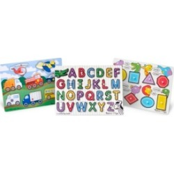 Melissa and Doug Peg Puzzle Bundle - Alphabet, Vehicles, Numbers