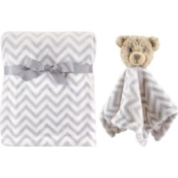 Hudson Baby Plush Blanket and Animal Security Blanket, 2-Piece Set, Gray Bear, One Size