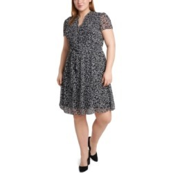 Msk Plus Size Printed Pleated Chiffon Shirtdress found on Bargain Bro from Macy's Australia for USD $63.31