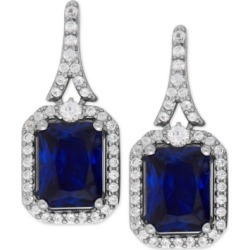Lab-Created Blue Sapphire (4 ct. t.w.) and White Sapphire (1/2 ct. t.w.) Drop Earrings in Sterling Silver