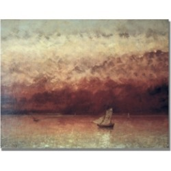Gustave Courbet 'Lake Leman with Setting Sun' Canvas Art - 24