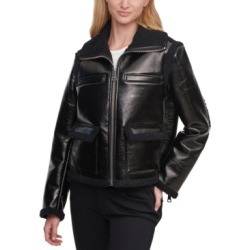 Calvin Klein Faux-Leather Sherpa-Trim Jacket found on MODAPINS from Macy's for USD $195.99