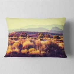 "Designart Prairie with Layers of Mountains Landscape Printed Throw Pillow - 12"" x 20"""