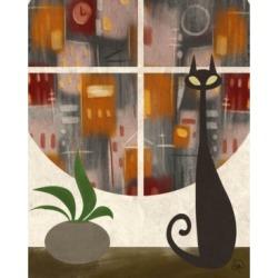 "Creative Gallery Retro City Cat Plant in Rust Orange 36"" x 24"" Canvas Wall Art Print"