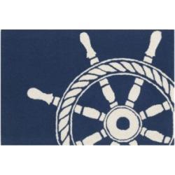 "Liora Manne Front Porch Indoor/Outdoor Ship Wheel Navy 2'6"" x 4' Area Rug"