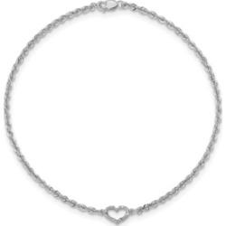 Heart Rope Anklet in 14k White Gold