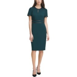 Karl Lagerfeld Paris Scuba Crepe Studded Leather-Trim Sheath Dress found on MODAPINS from Macy's for USD $138.00