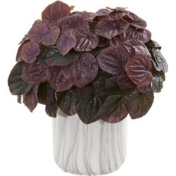 Nearly Natural Watermelon Peperomia Artificial Plant in Marble Finished Vase (Real Touch)