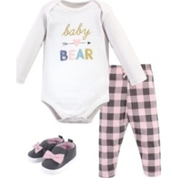 Hudson Baby Baby Girls and Boys Bear Bodysuit, Pant and Shoe Set, Pack of 3