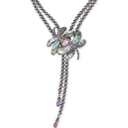 Carolyn Pollack Freshwater Peacock Pearl (5mm) & Multi-Gemstone (33 ct. t.w.) Dragonfly Lariat Necklace in Sterling Silver found on Bargain Bro India from Macy's Australia for $582.15