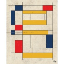 """Creative Gallery Retro Planks Blocks in Navy, Red Yellow 20"""" x 16"""" Canvas Wall Art Print"""