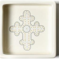 Coton Colors by Laura Johnson Cobble Neutral Cross Trinket Bowl