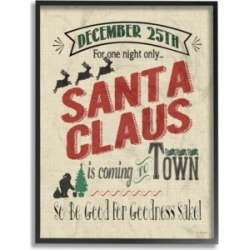 """Stupell Industries Santa For One Night Only Typography Framed Giclee Art, 16"""" x 20"""""""
