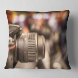 "Designart Modern Camera In City Electronics Shop Contemporary Throw Pillow - 16"" X 16"""