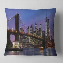 "Designart Brooklyn Bridge And Manhattan At Sunset Throw Pillow - 16"" X 16"""