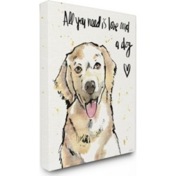 "Stupell Industries All You Need is Love and a Dog Illustration Canvas Wall Art, 30"" x 40"""