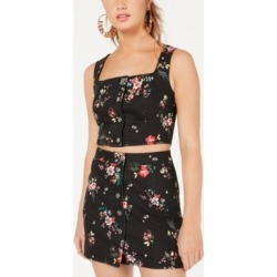 Material Girl Juniors' Printed Button-Front Cropped Tank Top, Created for Macy's