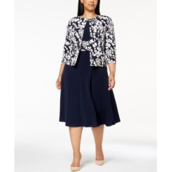 Jessica Howard Plus Size Ruched Dress & Floral-Print Jacket found on MODAPINS from Macy's for USD $109.00