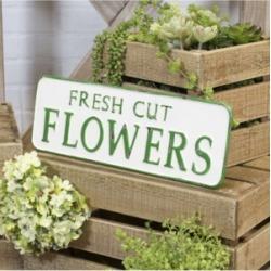 "Vip Home International Metal ""Fresh Cut Flowers"" Sign"