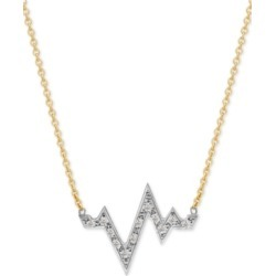 Sarah Chloe Diamond Heartbeat Pendant Necklace (1/8 ct. t.w.) in 14k Gold-Plate Over Sterling Silver & Sterling Silver, 16
