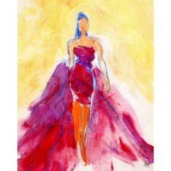 """Creative Gallery Flowing Red Dress Abstract 36"""" x 24"""" Canvas Wall Art Print"""