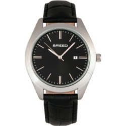 Breed Quartz Louis Silver And Black And Black Genuine Leather Watches 42mm found on Bargain Bro Philippines from Macy's Australia for $94.73