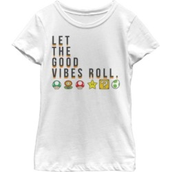 Fifth Sun Nintendo Big Girl's Super Mario Items Let The Good Vibes Roll Short Sleeve T-Shirt found on Bargain Bro India from Macys CA for $23.08