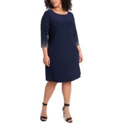 Msk Plus Size Faraj Embellished-Sleeve Sheath Dress found on Bargain Bro from Macy's Australia for USD $71.33