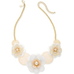Inc Gold-Tone Imitation Pearl Sequin Flower Statement Necklace, 18