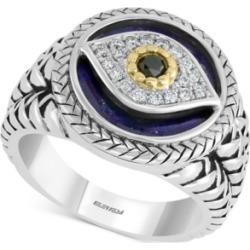 Effy Men's Multi-Gemstone & Diamond (1/10 ct. t.w.) Evil Eye Ring in Sterling Silver & 14k Gold