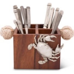 Vagabond House Caddy Square Acacia Wood Flatware, Serve Ware, Utensil, Carry-All Holder with Solid Pewter Crab Accent and Real Rope Handles, 4 Compartments