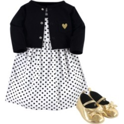 Hudson Baby Dress, Cardigan, Shoe Set, 3 Piece, Black Dot, 0-3 Months