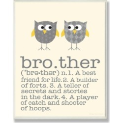 "Stupell Industries Home Decor Definition Of Brother with Two Gray Owls Wall Plaque Art, 12.5"" x 18.5"""