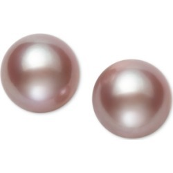 Belle de Mer Pearl Earrings, 14k Gold Cultured Freshwater Pearl Stud Earrings (10mm) (Also Available in Pink Cultured Freshwater Pearl)