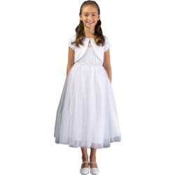 Bonnie Jean Big Girl Pleated Tulle and Imitation Pearl Communion Dress