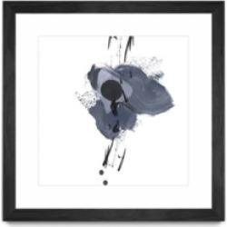 "Giant Art Blue and Black Splash Ii Matted and Framed Art Print, 36"" x 36"""