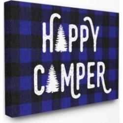 "Stupell Industries Happy Camper Blue Black Buffalo Plaid Canvas Wall Art, 30"" x 40"""