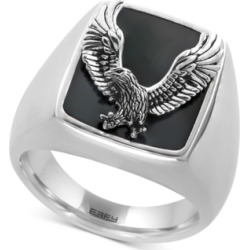 Effy Men's Onyx (16-3/4 x 13-1/2mm) Eagle Ring in Sterling Silver found on Bargain Bro India from Macy's Australia for $171.30