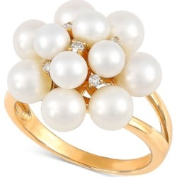 Arabella Cultured Freshwater Pearl (4-5-1/2mm) & Diamond Accent Statement Ring in 14k Gold, Created for Macy's