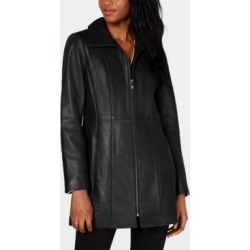 Anne Klein Stand-Collar Leather Jacket found on MODAPINS from Macy's for USD $183.99