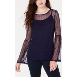 Ultra Flirt by Ikeddi Juniors' Mesh Bell-Sleeve Top found on MODAPINS from Macy's for USD $6.76