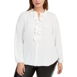 Bar Iii Trendy Plus Size Ruffled Button-Up Blouse, Created For Macy's