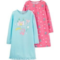 Carters Little Big Girls 2 Pk Princess Nightgowns