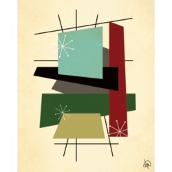 """Creative Gallery Retro Thoughts Ii in Mint, Olive Rust 24"""" x 20"""" Canvas Wall Art Print"""