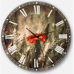 Designart Farmhouse Floral Oversized Round Metal Wall Clock found on Bargain Bro Philippines from Macy's Australia for $301.11
