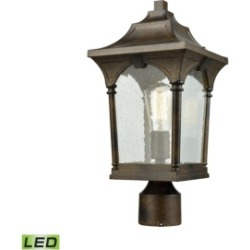 Loringdale 1 Light Outdoor Post Mount in Hazelnut Bronze with Clear Seedy Glass
