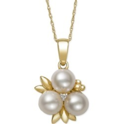 Belle de Mer Cultured Freshwater Pearl (6mm) and Diamond Accent Pendant Necklace in 14k Gold, Created for Macy's found on Bargain Bro India from Macy's Australia for $696.42