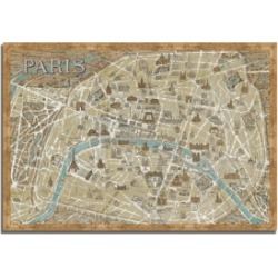 Tangletown Fine Art Monuments of Paris Map by Wild Apple Portfolio Framed Painting Print, 38