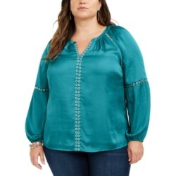 Inc Plus Size Grommet-Trimmed Peasant Blouse, Created for Macy's found on Bargain Bro India from Macy's Australia for $13.84